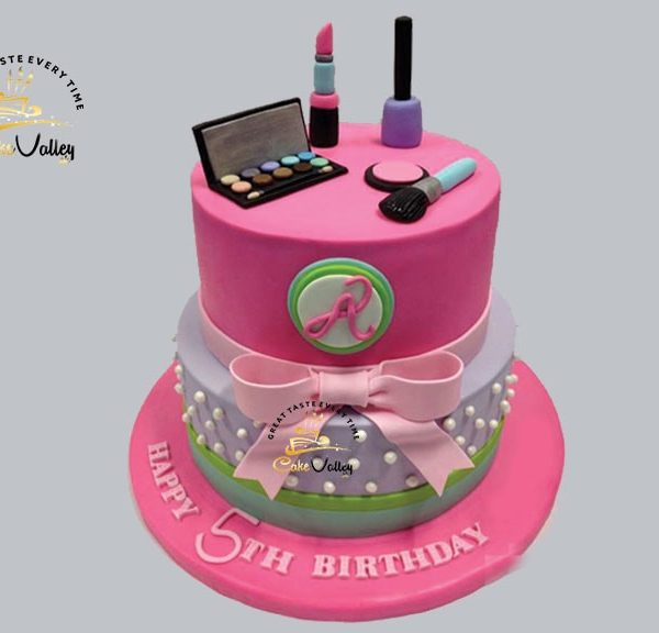 Makeup themed birthday cakes
