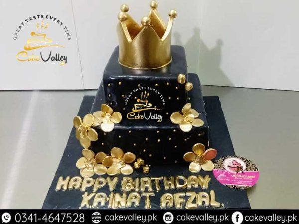 Best Golden Theme Cake for Girls Birthday or Anniversary