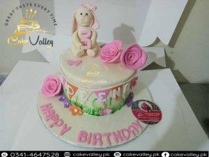 1st birthday baby girls rabbit cake