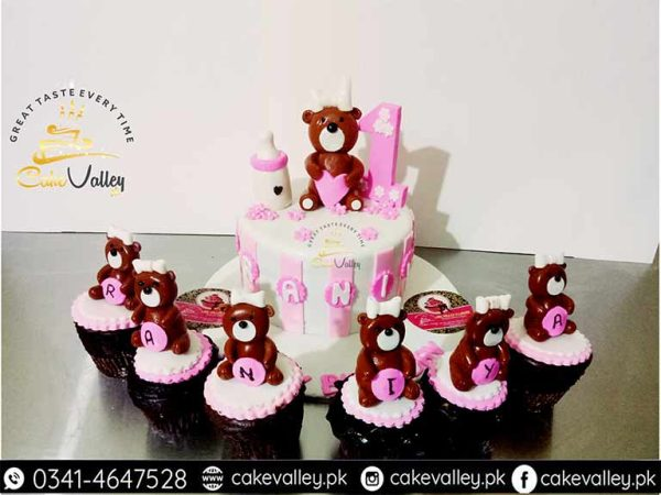 Teddy bear theme or baby girls 1st Birthday cake