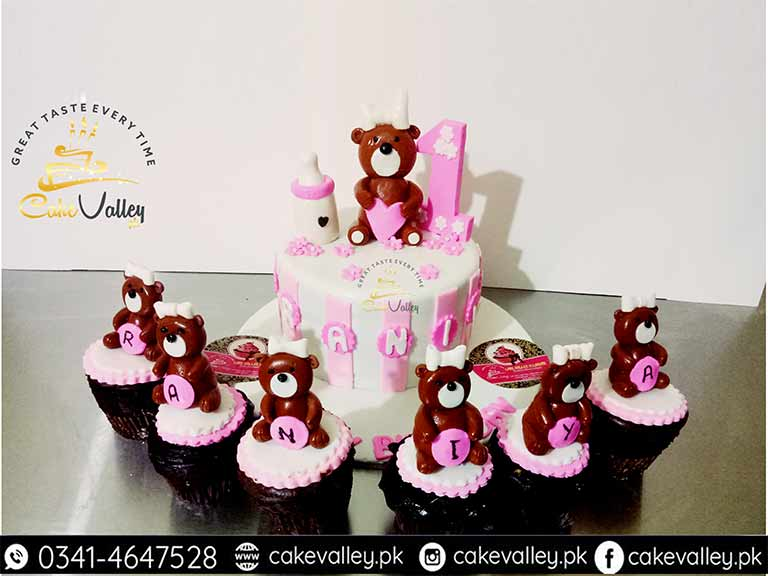 Teddy Bear Theme Or Baby Girls 1st Birthday Cake Online