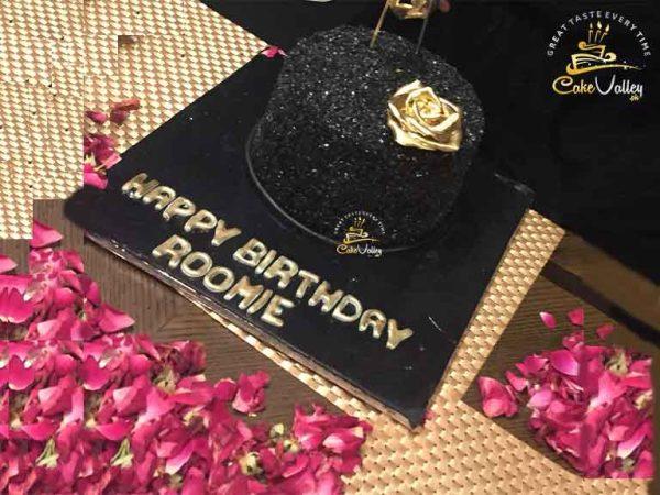 Boy theme black and golden theme cake
