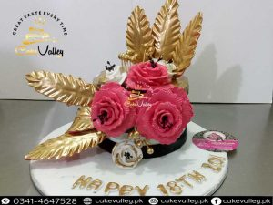Golden or Pink Theme Cake For Girls Birthday