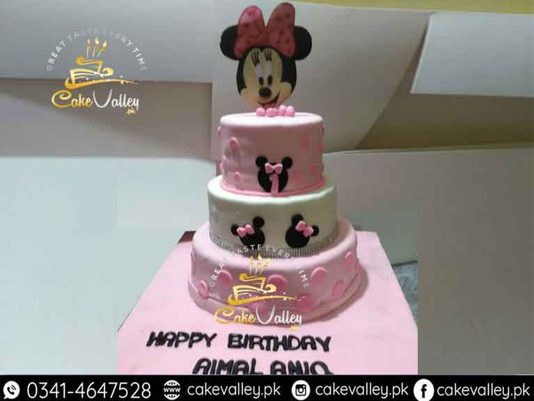 Minnie Mouse 3 Tier Baby Cake