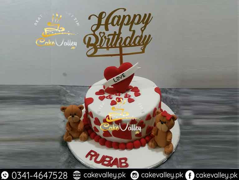 Teddy Bear Love Birthday Cake