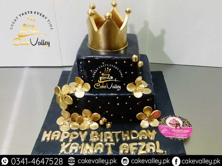 Best Golden Theme Cake For Girls Birthday Or Anniversary