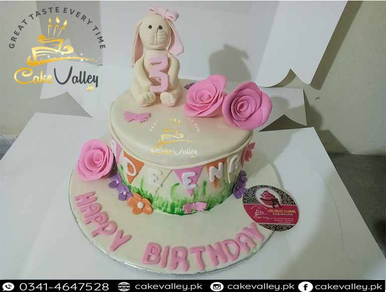 1st Birthday Baby Girls Rabbit Cake