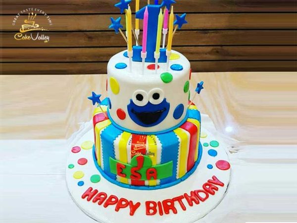 Baby 1st Birthday cookie monster cake
