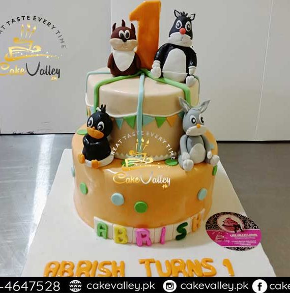 Baby Girls theme Cartoon character 2-tier cake