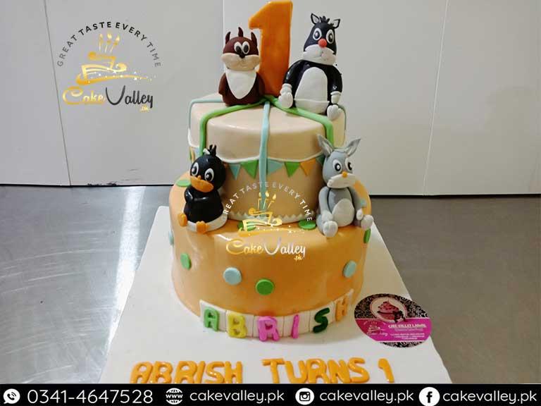 Baby Girls Theme Cartoon Character 2 Tier Cake