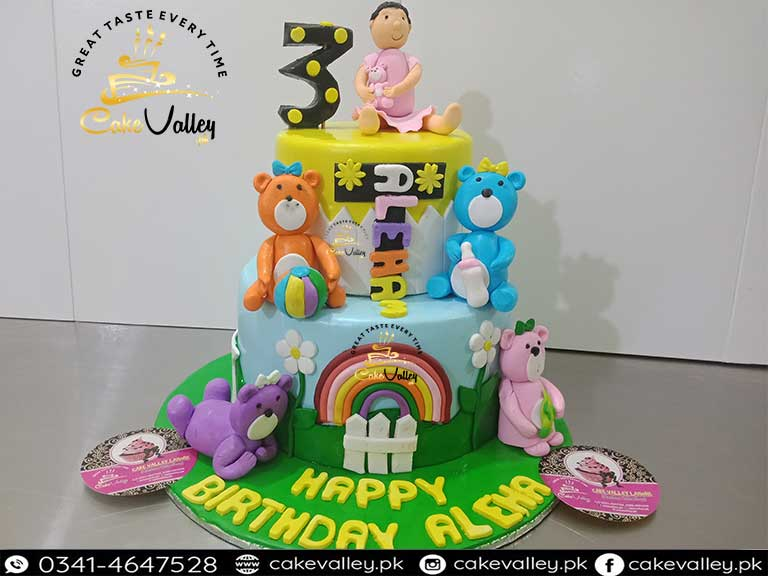 Amazing Baby Girls 1St Birthday Or Baby Theme Cake Online Cake Order And Personalised Birthday Cards Arneslily Jamesorg