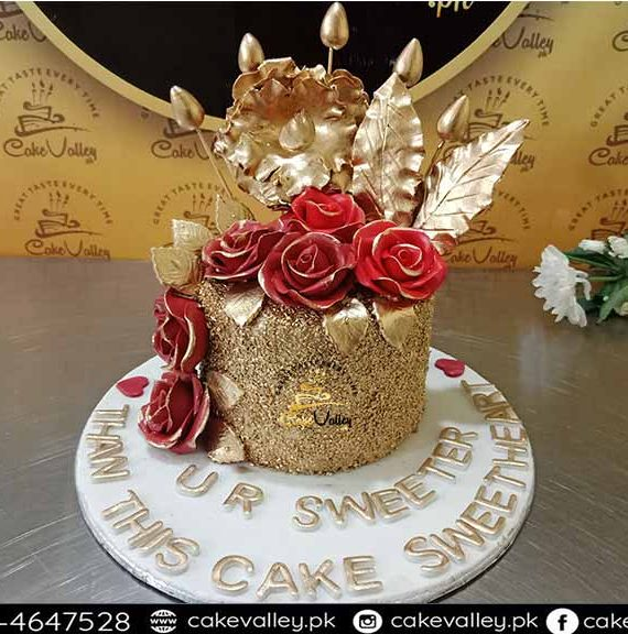 golden theme girls cake