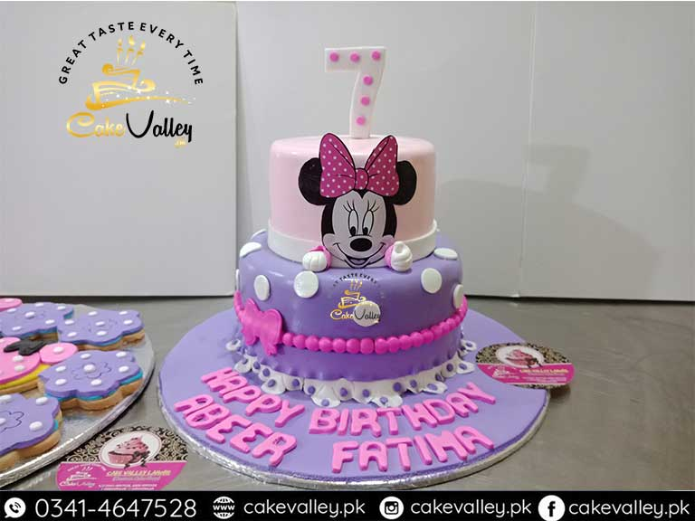 Minnie Mouse Birthday Cake.Minnie Mouse Theme Cake For Baby Girls