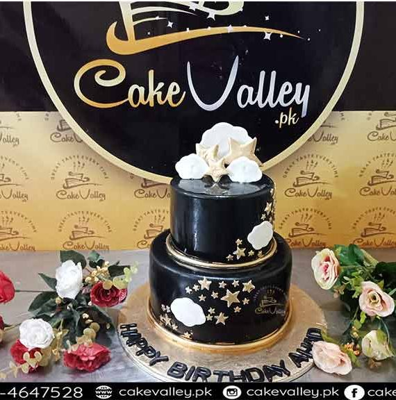 Black and Golden Baby Boy themed cake - Baby Cakes