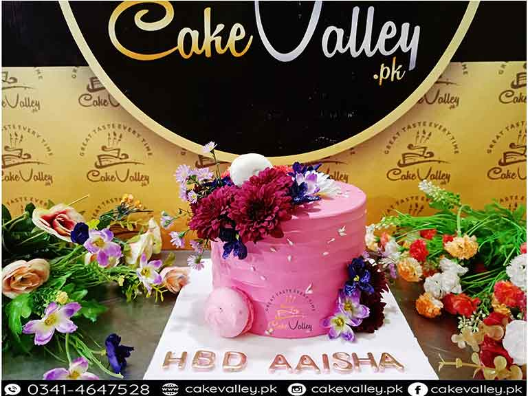 Fresh Flowers Theme Birthday Cake At Cakevalleypk