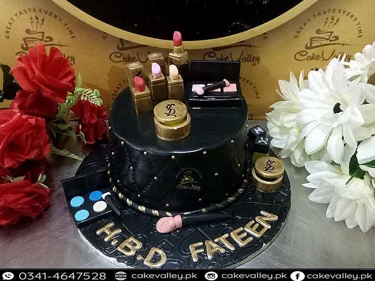 Makeup Kit Theme Girls Birthday Cake At Valley