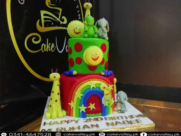 animal theme cake for babies birthday