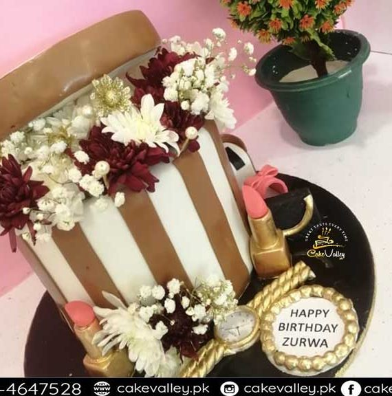 flowers bucket shape cake